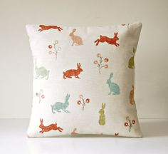 decorative pillow cover blue green terracotta by LittleJoobieBoo