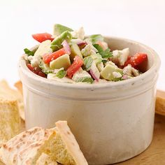 Avocado-Feta Salsa Feta cheese adds tanginess while avocados add creaminess to this easy tomato salsa recipe. Serve it with baked pita chips.