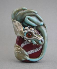 Handmade Lampwork Dragon Bead in Copper Green with Dichroic base