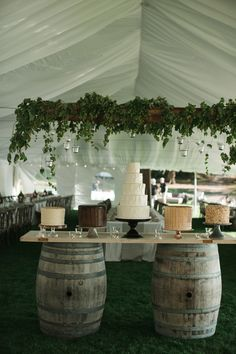 Wine Barrel Wedding Cake Table + garland and light installation Tent Wedding, Rustic Wedding, Dream Wedding, Hops Wedding, Wedding Navy, Whimsical Wedding, Chic Wedding, Wedding Desserts, Wedding Decorations
