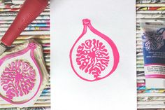 Fig linocut print with magenta ink - block printing, stamp, printmaking, fruit series
