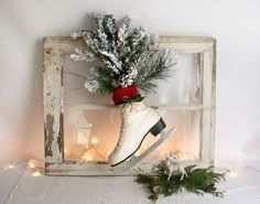 Ice Skate Christmas Decoration vintage white by TheHeirloomShoppe