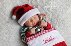 Newborn twins Christmas photo.
