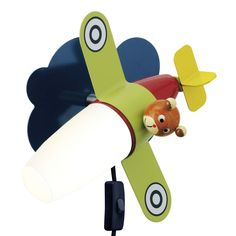 Children's airplane design bedroom wall light, LED lit for low energy usage. Individually switched & double insulated for use without earth. Bedroom Lighting, Home Lighting, Led Wall Lights, Ceiling Lights, Wall Light Fittings, Lighting Online, Led Lamp, Light Colors, Room Inspiration