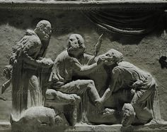 Ulysses recognized by Euryclea, his nurse, who discovered the scar on his leg while washing his feet. Relief (1st CE) from a tusculum. Inv. 901   Museo Nazionale Romano, Rome, Italy