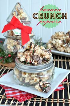 Banana Crunch Popcorn - chocolate covered popcorn with Nestle crunch bells and banana pudding mix #holidaycandy #nestle #chocolatecoveredpopcorn http://www.insidebrucrewlife.com
