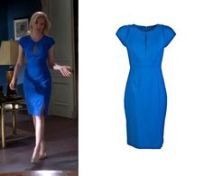 """Elizabeth rocked this electric blue Black Halo Eddie Sheath Dress in the episodeThe Return of Avery Jessup of """"30 Rock""""  You can buy this dress for $234.00(marked down from$390.00)"""