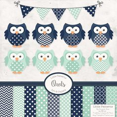 Premium Owl Clipart Vectors & Digital Papers in by AmandaIlkov