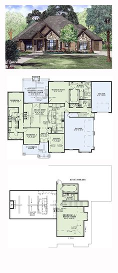 Craftsman House Plan chp 54419 Craftsman French Country