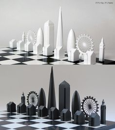 Skyline-Chess white and black pieces on board IIHIH More