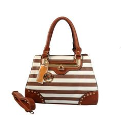 Michael Kors Pyramid Stud Striped Large Brown Totes Outlet
