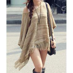 $18.31 Butterfly Sleeves Scoop Neck Knit Pattern Openwork Fringe Hem Stylish Women's Sweater
