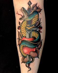 The Snake and the sword Tattoo. This tattoo is definitely symbolizing defense and protection.