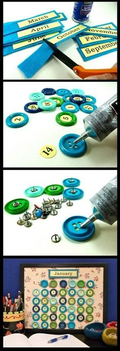 Make a Perpetual Button Calendar for 2011 (and Beyond) DIY : Beautiful Button Calendar Cute Crafts, Crafts To Do, Creative Crafts, Crafts For Kids, Arts And Crafts, Diy Crafts, Diy Projects To Try, Craft Projects, Craft Ideas