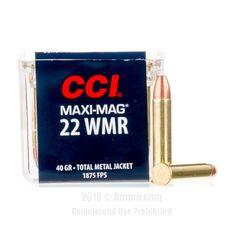 CCI 22 WMR Ammo - 50 Rounds of 40 Grain TMJ Ammunition  #22WMR #22WMRAmmo #CCI #CCIAmmo #CCI22WMR #TMJ