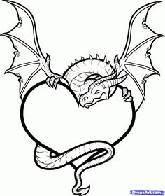 How To Draw A Dragon Heart, Dragon And Heart, Step by Step, Drawing Guide, by Dawn Easy Cartoon Drawings, Easy Drawings, Pencil Drawings, Drawing Sheet, Drawing Sketches, Dragon Coloring Page, Coloring Pages, Broken Heart Drawings, Cartoon Dragon