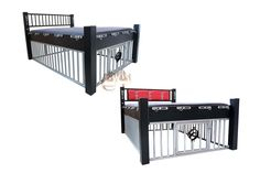 Steel bed with BasicLine cage by ET Germany - Robust built of heavy steel, the steel bed has two living areas, which could not be more different. While you can spend your time above comfortably lying, resting or having fun with a third partner, your slave is made to accept what he/she gets - with adjustable neck iron that fixes the delinquent meanwhile, until it is drawn from its rule for further services. The bed posts of the steel bed consist of 10x10cm thick square tubes.