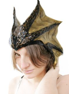 READY TO SHIP - dragon's horns fantsy larp d&d costume horn tiara head black gold medieval demon lord bull wiccan leather druid elf