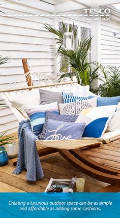 From soft touches such as a chambray 'love' cushion, £10, to a wooden garden hammock at £160 which is sure to be the envy of all the neighbours, relaxing in the great outdoors has never been so affordable or luxurious.