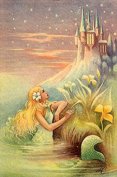 Vintage Mermaid Illustration-- The Little Mermaid Magical Creatures, Fantasy Creatures, Sea Creatures, Mermaid Lagoon, Mermaid Tale, Mermaid Mermaid, Manga Mermaid, Tattoo Mermaid, Mermaid Princess