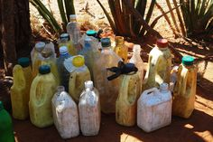 Meibae, northern Kenya. Each day, the children must bring their own water to school - these are their water containers.