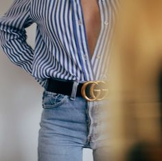 Stripe shirt with Gucci belt