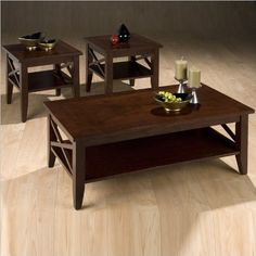Jofran 3 Piece Coffee Table and End Tables Set in Cherry by Jofran. $365.32. Belongs to 316 Series. Leg Table Type. Shelf & Inlay Tops. Cherry Veneer, Asian Hardwood Solids. The Jofran Cherry coffee table and two end table set will bring warmth to any room. Featuring a large x-sided coffee table and two end tables, this set is built from sturdy asian hardwood and made to last both in style and in structure. Features: Rachael cherry finish Constructed of solid asian hardw...