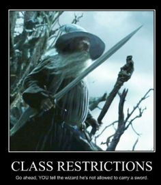 This is why class restrictions are stupid: you get on the bad side of wizards, ;)