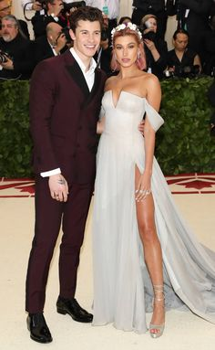 Met Gala 2018 best dressed - Shawn Mendes and Hailey Baldwin in Tommy Hilfiger Straps Prom Dresses, Gala Dresses, Red Carpet Dresses, Nice Dresses, Powder Blue Gown, Burgundy Suit, Hailey Baldwin Style, Met Gala Red Carpet, Cool Girl Style