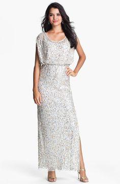 JS Collections Blouson Bodice Sequin Mesh Gown