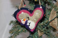 Snowman Heart Needle Felted Prim Snowman Heart Felted on Burlap #758