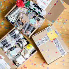 Parties In A Box | The Confetti Post Party In A Box, Party Kit, Birthday Box, Birthday Gifts, Creative Gift Packaging, Cumpleaños Diy, Eid Party, Fun Mail, Little Presents