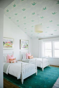 girl bedroom decor, shared girl bedroom decor, white jenny lind wood beds in girl bedroom design with wallpaper ceiling, pink and green girl bedroom Little Girl Rooms, Kid Spaces, Small Spaces, Space Kids, My New Room, Home Design, Design Ideas, Interior Design, Cabin Design