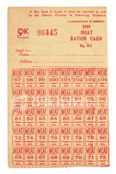 These were one of the many food ration cards given out during WWII, by the government. The government rationed food, so that feed civilians and soldiers at war as well. ration stamps were inside a ration book, these stamps had to be presented in order to collect food. Without the stamps, you could not collect food. This particular picture, is a section from the ration book, which contained meat stamps.