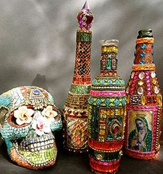 Mixed media altar bottles. art, dia de los muertos. Gorgeous.