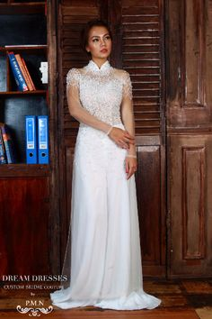 WHITE AO DAI-Vietnamese Bridal Dress with All Over Hand-Beading (#PB104)