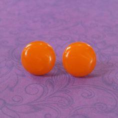 Orange Earrings  Stud Earrings  Button Earrings  by mysassyglass