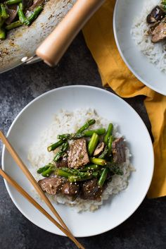 Stir-Fried Beef and Asparagus makes a fresh, quick, weeknight, spring dinner. Add this recipe to your weeknight dinner rotation. SO TASTY with flank steak, soy sauce or tamari, cornstarch, rice vinegar, brown sugar, sesame oil,  porcini mushrooms, asparagus, ginger, and garlic.