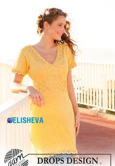 Летнее ажурное платье с V-образным вырезом от Drops Design, вязаное спицами | Блог elisheva.ru