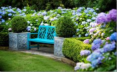 Turquoise bench and planters