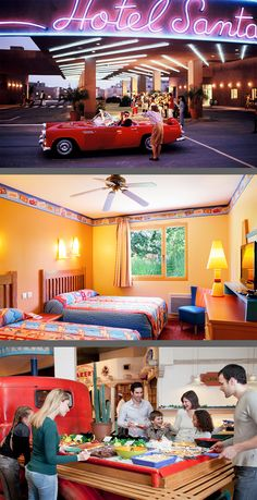Discover this oasis of comfort on Route 66, where a Santa Fe-themed Hotel offers Bright, colourful, themed bedrooms straight from the world of Disney Pixar's Cars.