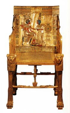 Throne of Tutenkhamen, c. 1,333-1,323 BC, From the tomb of Tutankhamen in the Valley of the Kings, Thebes, (New Kingdom) Note: currently in Egyptian Museum, Cairo, Egypt via Egyptian Art