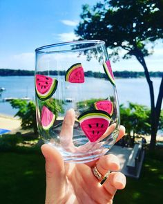 Hand-painted Glassware by ShopWinebyDesign Diy Wine Glasses, Hand Painted Wine Glasses, Glass Bottle Crafts, Bottle Art, Painted Glass Bottles, Decorated Bottles, Glass Painting Designs, Creation Art, Watermelon Wine