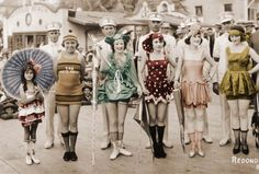 Bathing beauties at a pier at Redondo Beach CA, 1921. Socks add to the modesty.