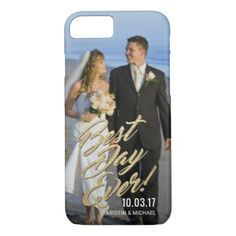 Wedding Couples Best Day Ever Gold Script Overlay iPhone 8/7 Case - gold wedding gifts customize marriage diy unique golden