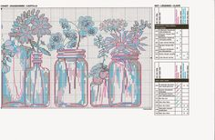 Free jars of flowers cross stitch pattern pg2 #stitching                                                                                                                                                     More