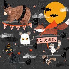 "671 Me gusta, 28 comentarios - Bianca Pozzi (@bianca.pozzi) en Instagram: ""Happy halloween everyone! 🎃👻"" Halloween Scene, Halloween Images, Fall Halloween, Happy Halloween, Halloween Costumes, Halloween Illustration, Illustration Art, Thanksgiving Art, Cute Characters"