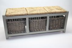 Grey Wood Storage Bench With Wicker Rattan Baskets. in Home, Furniture & DIY, Furniture, Benches | eBay