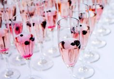 Tint the traditional champagne toast with a hint of color.   35 Incredibly Fun Ways To Add Color To Your Wedding