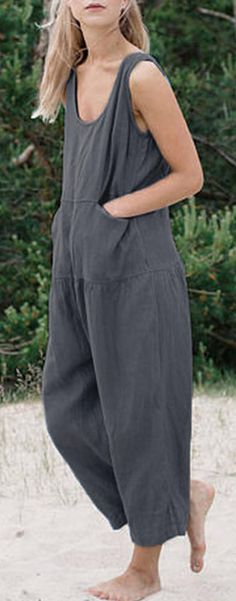 Free shipping&60%off. M-5XL Women Sleeveless Solid Color Loose Cotton Jumpsuit